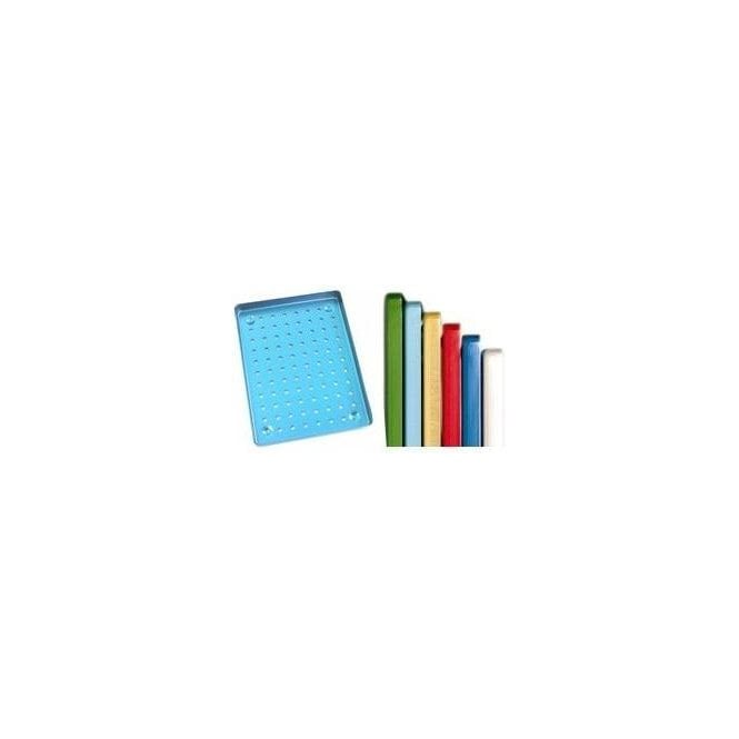 AM Dental Instrument Tray Aluminium Blue Perforated - Each