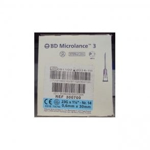 "BD Microlance 3 Hypodermic Needles 23gx1.25"" (300700) Box100"