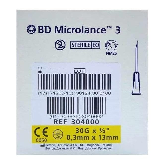 "BD Microlance 3 Hypodermic Needles 30Gx0.5"" (304000) -Box100"