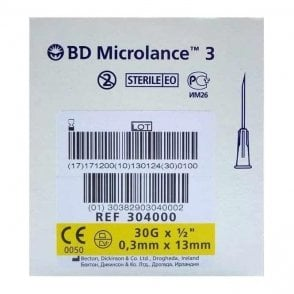 "BD Microlance 3 Hypodermic Needles 30Gx½"" (304000) - Box100"