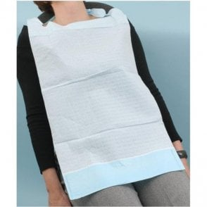 Classic UnoDent Patient Bib with Collection Pocket Light Blue -Pk100