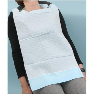Classic Patient Bib with Collection Pocket Light Blue -Pk100