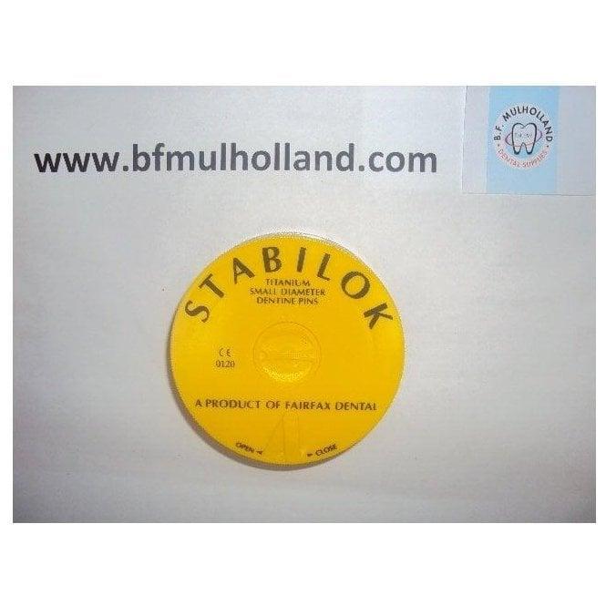 Fairfax Stabilok Jumbo Pins Titanium Small Yellow - Pack100