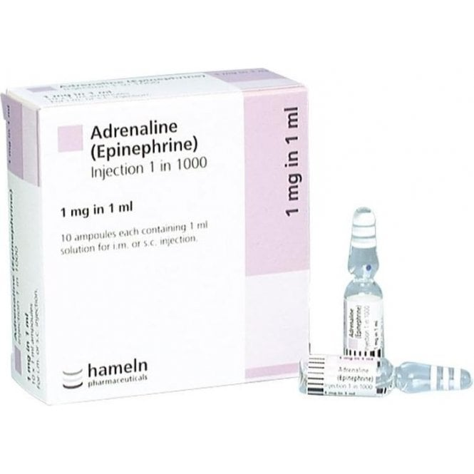 Hameln Adrenaline 1:1000-1mg 1ml Ampoules - Box10