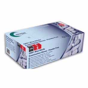 HPC HandSafe Blue Nitrile Gloves P/Free XSmall GN91 - Box200