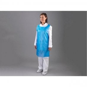 "HPC Polythene Disposable Aprons Blue On Rolls 27""x46"""