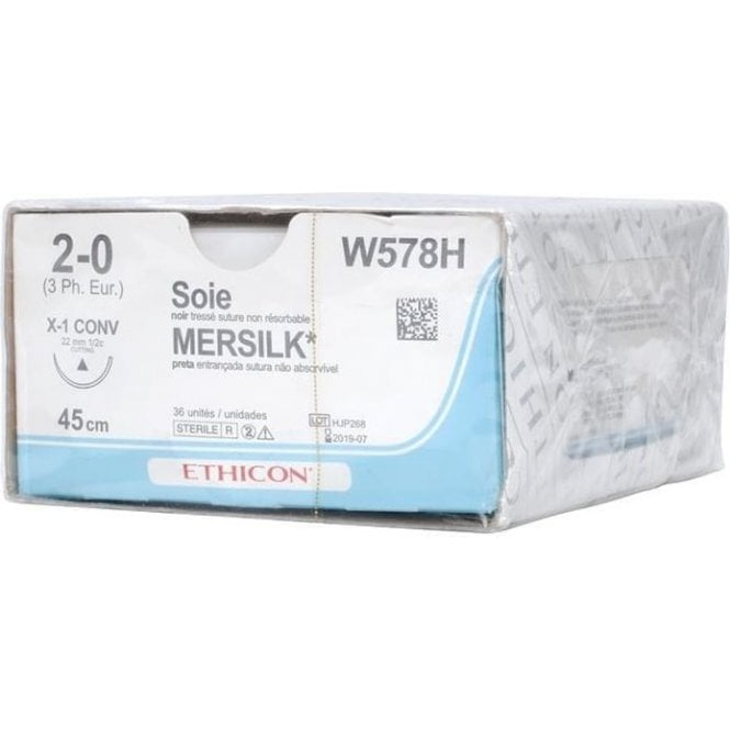 Johnson & Johnson Ethicon Sutures Mersilk 2/0 (W578H) -Box36