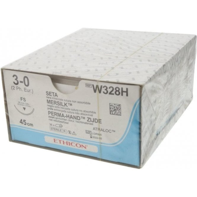 Johnson & Johnson Ethicon Sutures Mersilk 3/0 (W328H) -Box36