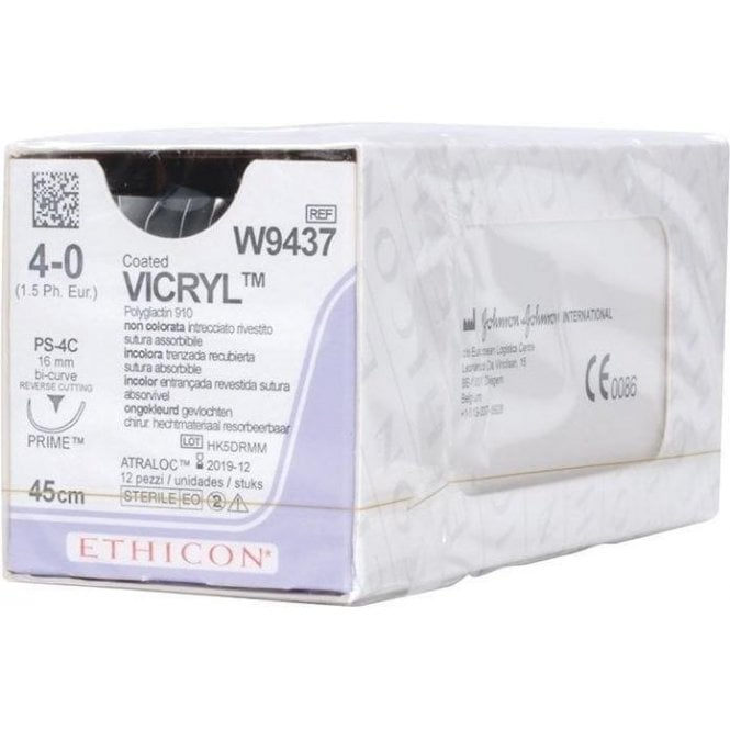 Johnson & Johnson Ethicon Sutures Vicryl 4/0 (W9437) - Box12