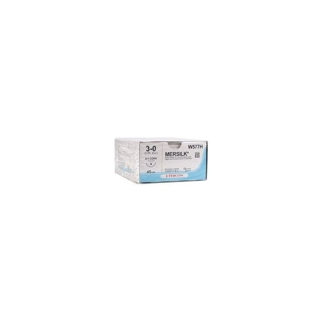 Johnson & Johnson Mersilk Braided Silk Suture 3/0 (W577H)