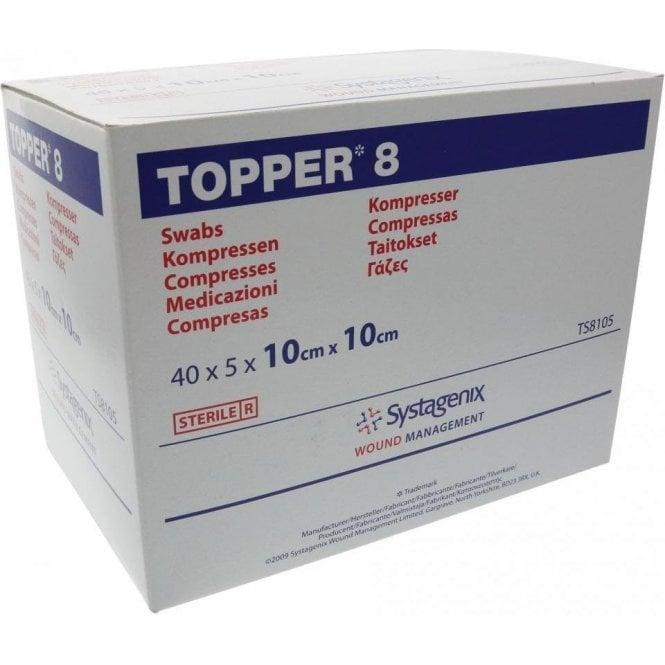 Johnson & Johnson Topper 8 Swabs Sterile 10x10cm 4 Ply -Pk40