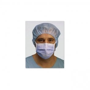 Molnlycke Barrier Surgical Face Masks Blue Tie-On 4330 - 50