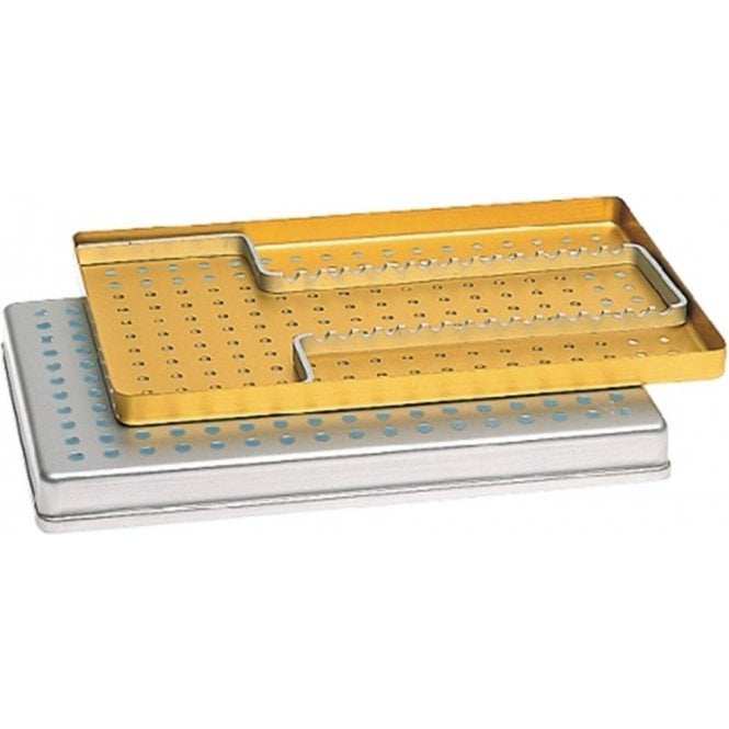Nichrominox Large Instrument Tray Perforated Yellow 28x18cm