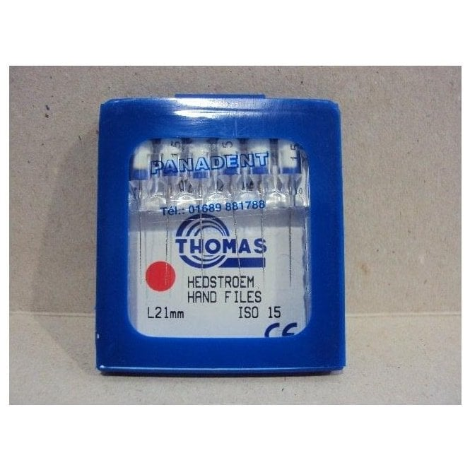 Thomas Hedstroem Hand Files L21mm Size 15 - Pack6