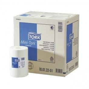 Tork Wiping Paper Roll Mini C/Feed 1Ply White 12pk (100152)