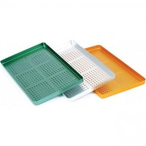 UnoDent Aluminium Instrument Tray Perforated Green (GTT040)