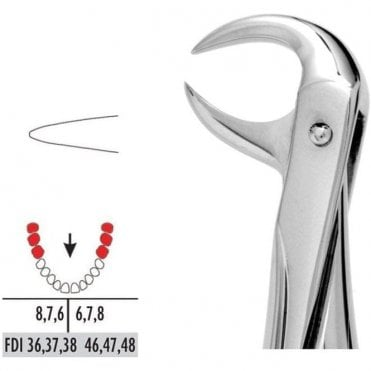 UnoDent Forceps Autoclavable 86 Lower Molars (Cowhorn)