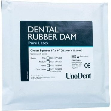 "UnoDent Latex Rubber Dam Thin Green 6""x6"" (EWS005) - Pack36"