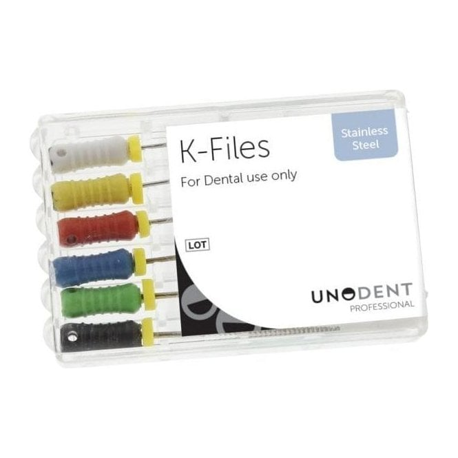 UnoDent SS K File 28mm Assorted 15-40 - Pack6
