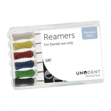 UnoDent SS Reamers 21mm Assorted 45-80 - Pack6